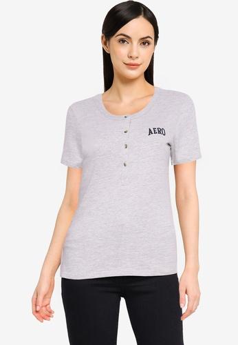 Aeropostale grey Short Sleeve Henley T-Shirt BD055AADA8D293GS_1