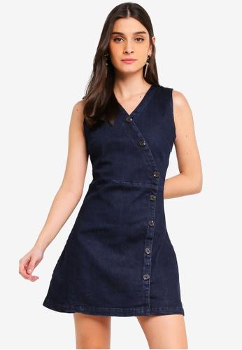 ZALORA blue Wrap Button Details Dress C54C6AAE4EF2CDGS_1