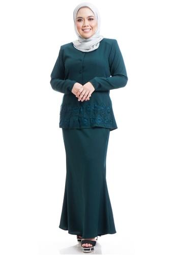 Ashura green Kaylana Kurung With Arabesque Lace 2A6F3AA4F63C71GS_1