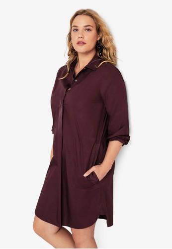 Violeta by MANGO red Plus Size Cotton Shirt Dress CBC1BAA0A4B9CBGS_1