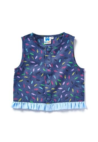 Vauva blue Vauva Hauska Girls Leaves Pattern Vest Jacket EAD79KA2E8ECF8GS_1
