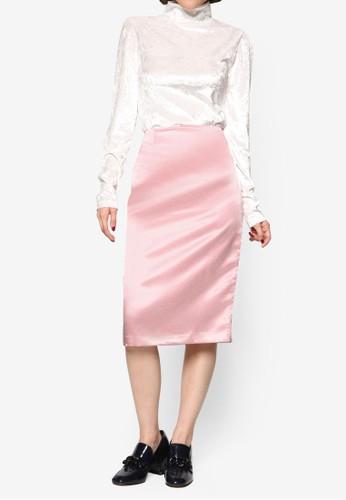 緞感及膝鉛筆裙, 服飾esprit 台北, 裙子