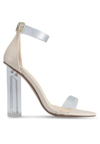 MISSGUIDED beige Block Heel Perspex Sandals 2AD97SHC10CA49GS_1