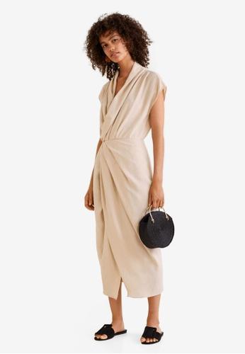 Mango beige Draped Neckline Soft Dress BBE7EAA79BE4E0GS_1