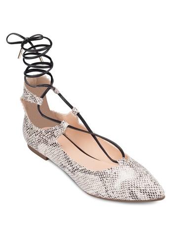 繫帶繞踝蛇紋平zalora 順豐底鞋, 女鞋, 芭蕾平底鞋