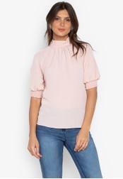 DEBENHAMS pink Red Herring - Rh Ss High Neck Blouse 9EAAAAA8E21CE4GS_1