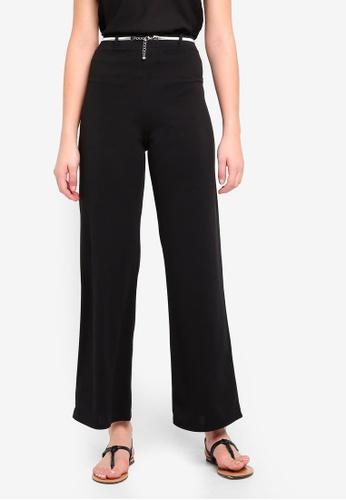 Miss Selfridge black Black Belted Wide Leg Trousers F7136AA36E465EGS_1