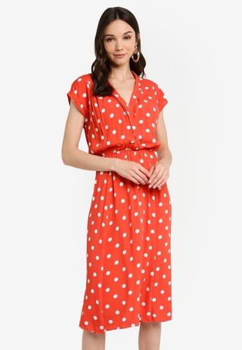 864de6c0382236 Buy WAREHOUSE Coral Spot Shirt Midi Dress Online on ZALORA Singapore