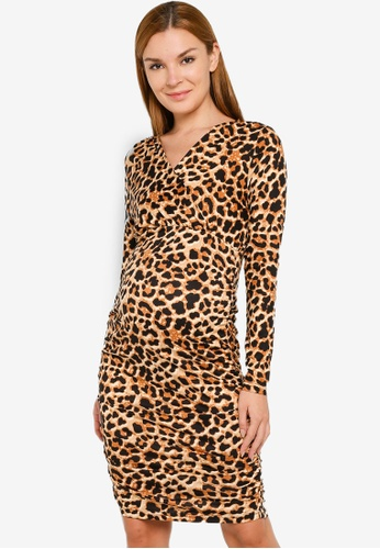 Mama.licious brown Maternity Aimy Leo Tess Jersey Dress 5D286AA885DA83GS_1