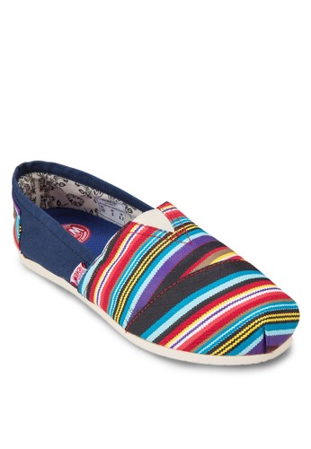Serape 撞色條紋懶人zalora 手錶鞋, 女鞋, 休閒鞋