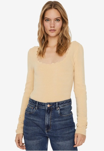 Vero Moda beige Safina Scallopneck Blouse 45557AA840CECBGS_1