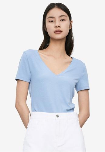 URBAN REVIVO blue V Neck T-Shirt 5EA0CAA4B50E5AGS_1