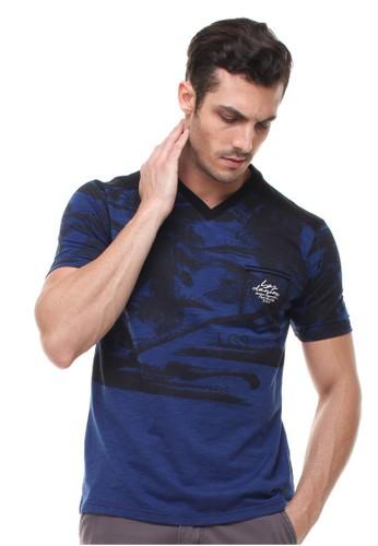 LGS blue LGS - Slim Fit - Kaos Fashion - Motif Pantai - Kerah Vneck - Biru LG695AA75GFKID_1