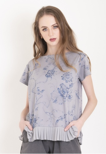 Chain grey Light Grey Allison Blouse with pleats and chinoiserie print AADD8AA062F988GS_1
