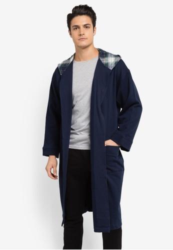 Burton Menswear London navy Jersey Hooded Robe BU964AA0SLF6MY_1