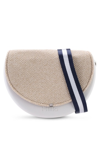 Hoola Hoola white Chiara Saddle - Eggshell White Woven with Navy Nylon strap B28CBAC68DB6A3GS_1