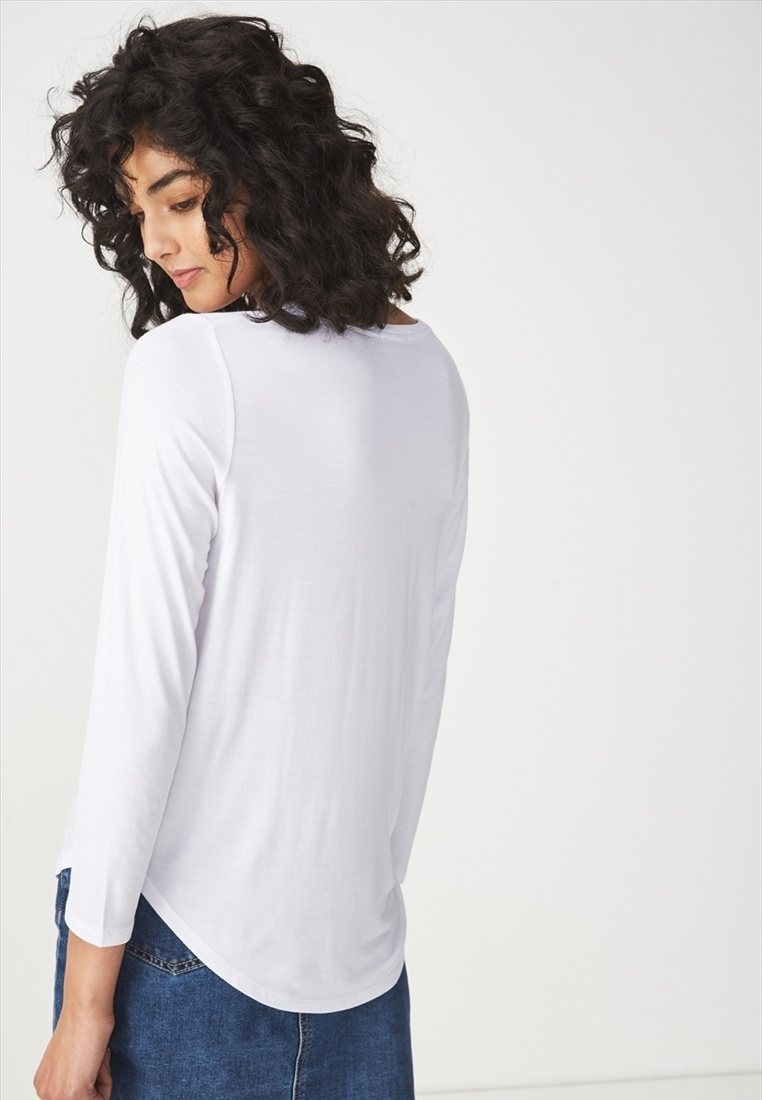 Cotton White Long On Top Sleeve Kathleen rxgar8q1