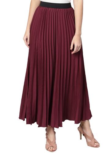 SASSAFRAS red Burgundy Pleated Maxi Skirt 5402AAA5882298GS_1
