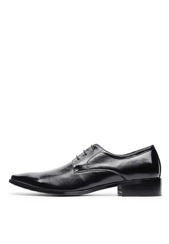 頭層牛esprit tote bag皮。微孔壓紋商務皮鞋-04691-黑色, 鞋, 皮鞋