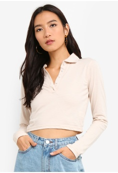 ac3ce59a7dbc51 MISSGUIDED beige Button Front Polo Crop Top 165D2AA6A59606GS 1