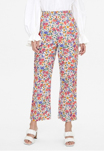 Pomelo red Watercolor Floral Print Pants - Red 66CB3AA9ED3156GS_1
