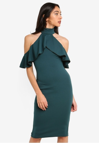 MISSGUIDED green High Neck Frill Cold Shoulder Midi Dress 232D7AA70529D1GS_1