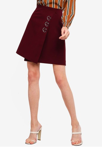 bYSI red Overlap Mini Skirt 295C2AA504AD90GS_1