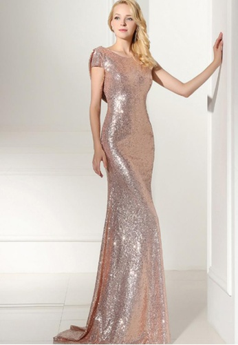 8da6dc616c67 LOVENGIFTS gold Sequin Flounce Back Gatsby Vintage Maxi Dress (Rose Gold)  LO429AA0S5KZMY 1
