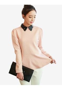 Contrast Collar Long Sleeve Top