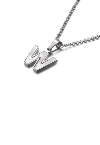 Glamorousky white Fashion and Elegant English Alphabet W Shell 316L Stainless Steel Pendant with Necklace F9FC1AC1CA7A4FGS_1