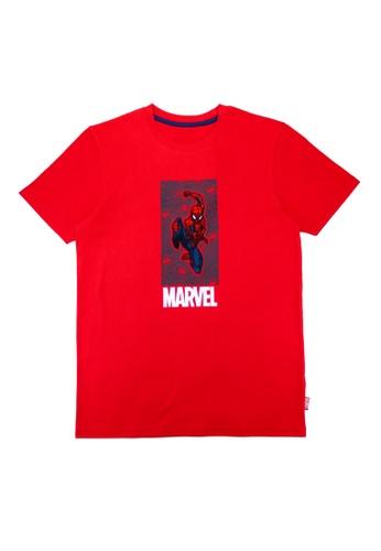 Marvel red Boys Spiderman Web Pattern Graphic T-shirt 98518KA5C661E3GS_1