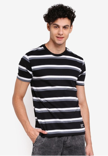 Penshoppe 黑色 寬鬆條紋T恤 D8BC2AA9766204GS_1