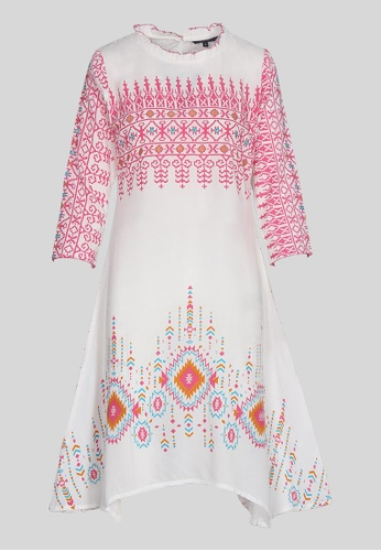 Le Reve white and pink and orange Le Reve Ruffled Round Neckline Asymetrical Dress C7AF3AA1D4DFC2GS_1