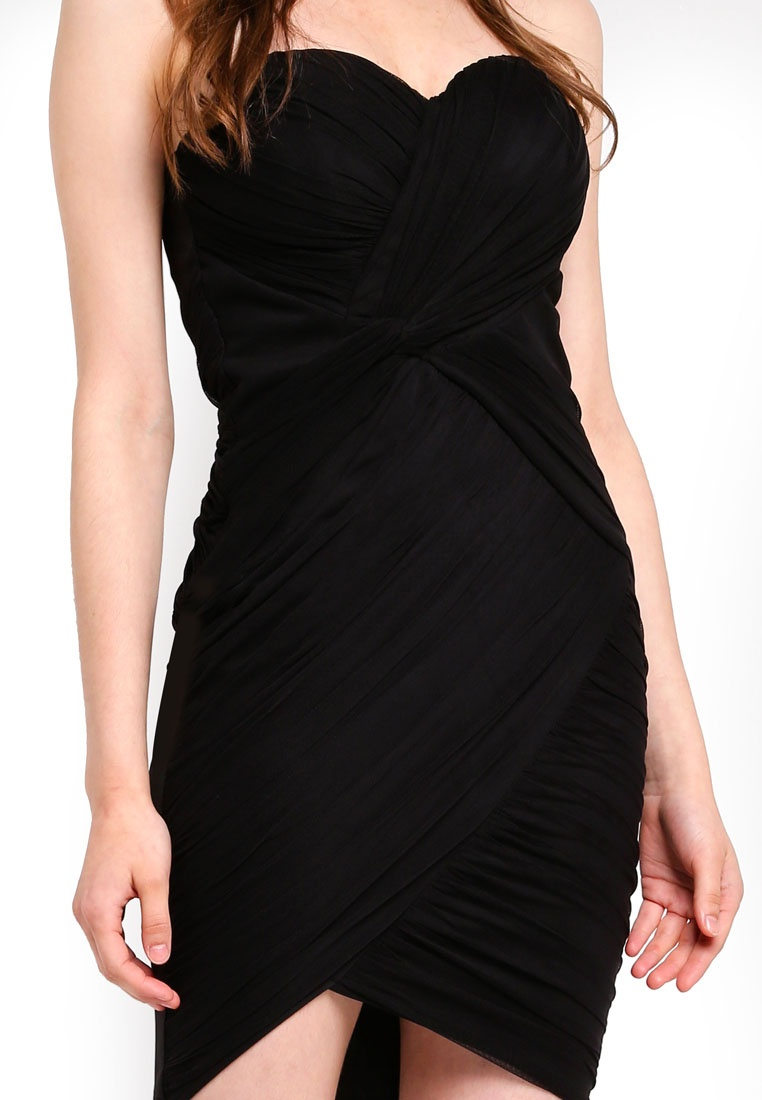 Dress Black Bandeau Lipsy Ruched Mini xFXCR1E