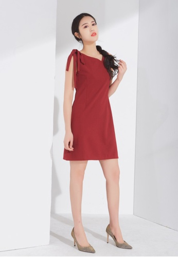 Zafiti red Bare Shoulder Bow Tie Dress 66D41AA128D45EGS_1