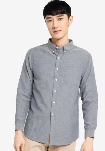ZALORA BASICS navy Regular Fit Button Down Oxford Shirt CF8FAAAA6DF6DEGS_1