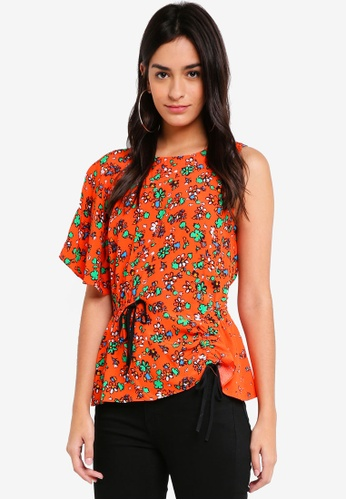 TOPSHOP orange Floral Print Ruched Top 8D8FCAAD44DB76GS_1
