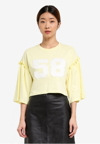 Something Borrowed yellow Flare Sleeve Logo Top 02C85AAC89D564GS_1