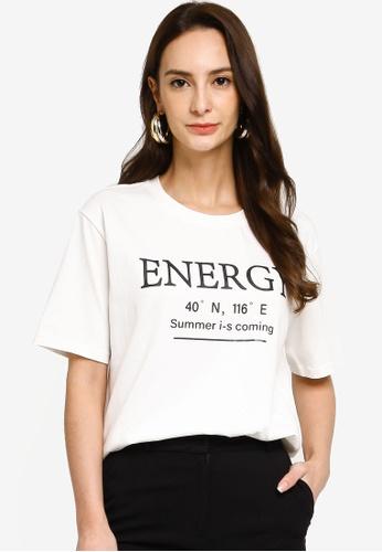 Hopeshow white Slogan Round Neck Short Sleeve T-Shirt 79050AAE78C5E6GS_1
