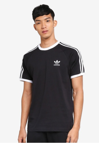 adidas Originals 3 Stripe Logo Black T Shirt