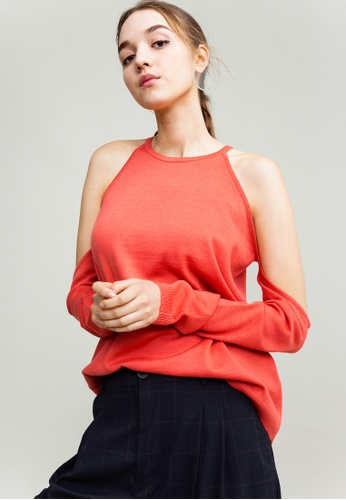 KLAPS orange Merino Cold Shoulder Top 02B8DAA51EC09FGS_1