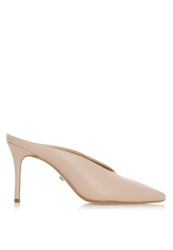 Dune London 粉紅色 皮革高跟穆勒鞋 E93AASH29B1567GS_1
