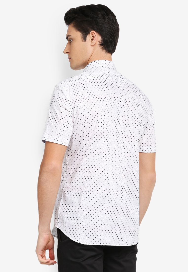 Shirt Dot Print Tone White Sleeve 2 Short G2000 Xqw5XC