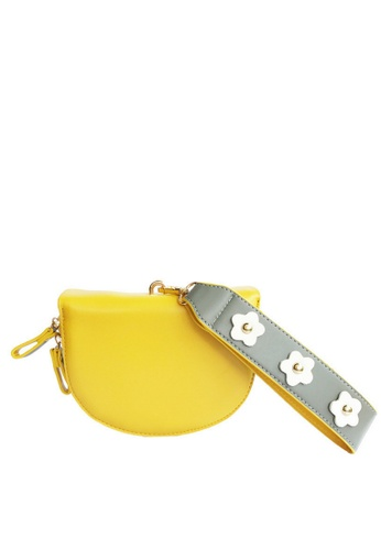 LIVLOLA grey and white and yellow Danika Crossbody Clutch LI657AC0RJ7DMY_1