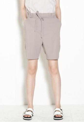 wnderkammer beige Belted Pointed Shorts WN055AA27PDWSG_1