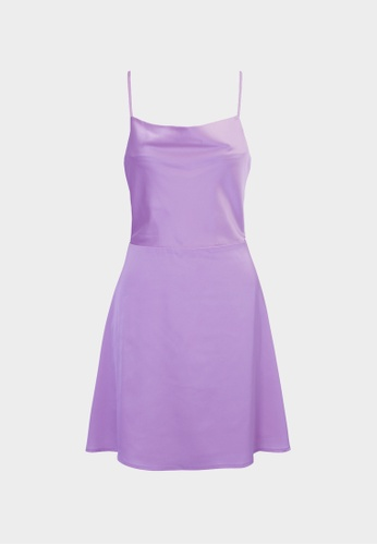 Pomelo purple Open Keyhole Back Mini Dress - Purple F94F1AAB960D1CGS_1