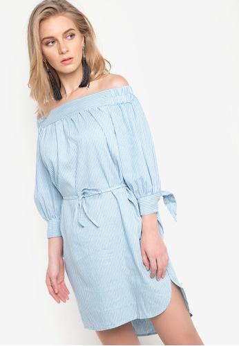 Spring Fling blue Offshoulder Pinstripes Belted Dress SP673AA85SEWPH_1