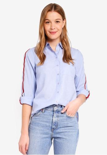 Dorothy Perkins blue Chambray Sporty Stripe Shirt A28A4AA808E892GS_1