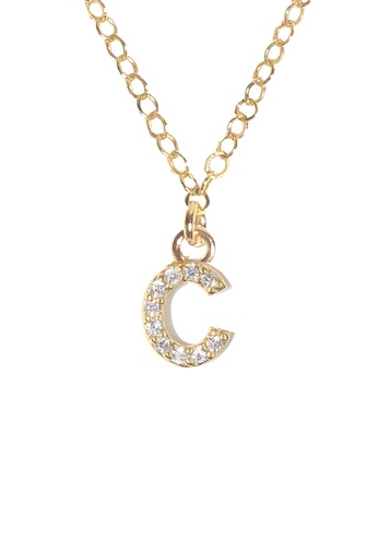 PSYNDROME gold Personalised Initial Letter Alphabet Cubic Zirconia Necklace - C E046EAC72330B4GS_1