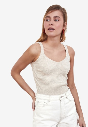 Trendyol beige Ribbed Knit Cami Top D7A21AA1D493A8GS_1